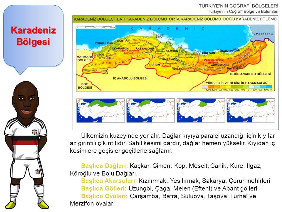 Karadeniz Bölgesi Ülkemizin kuzeyinde yer alır.
