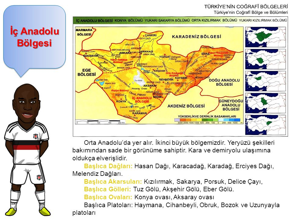 İç Anadolu Bölgesi Orta Anadolu'da yer alır. İkinci büyük bölgemizdir. Yeryüzü şekilleri bakımından sade bir görünüme sahiptir. Kara ve demiryolu ulaş