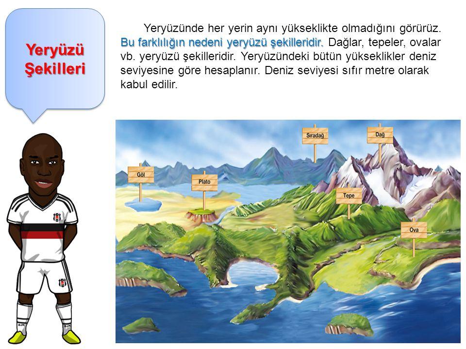 Dağ: Çevresine göre yüksek olan yeryüzü şekillerine dağ denir.