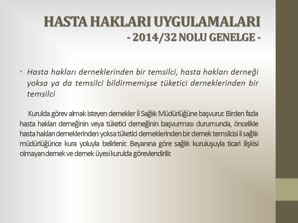 HASTA HAKLARI UYGULAMALARI - 2014/32 NOLU GENELGE - Hasta hakları derneklerinden bir temsilci, hasta hakları derneği yoksa ya da temsilci bildirmemişs