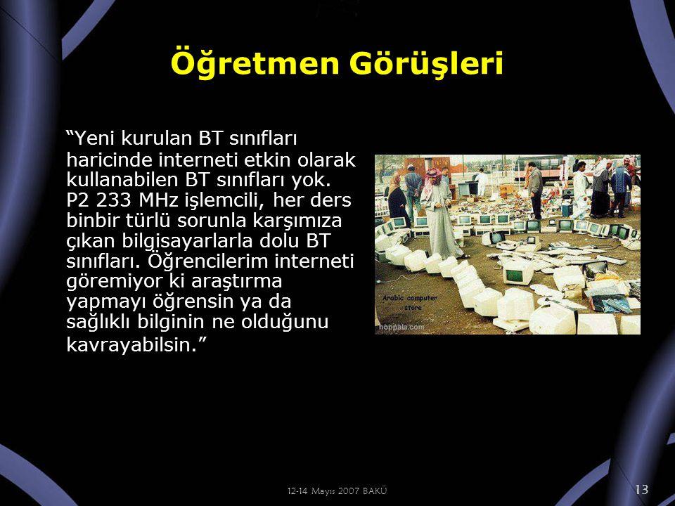 12-14 Mayıs 2007 BAKÜ 13 Öğretmen Görüşleri Yeni kurulan BT sınıfları haricinde interneti etkin olarak kullanabilen BT sınıfları yok.