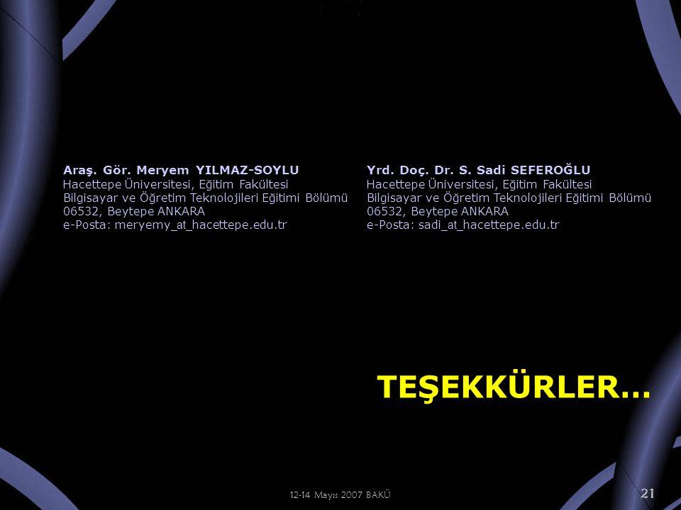 12-14 Mayıs 2007 BAKÜ 21 TEŞEKKÜRLER… Araş. Gör.