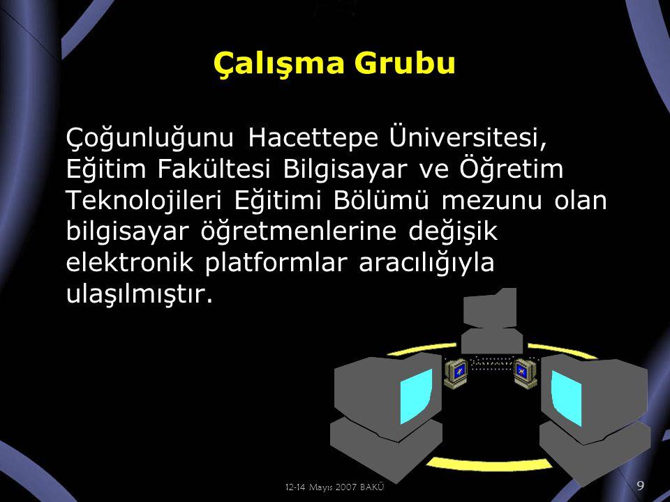 12-14 Mayıs 2007 BAKÜ 9 Çalışma Grubu Çoğunluğunu Hacettepe Üniversitesi, Eğitim Fakültesi Bilgisayar ve Öğretim Teknolojileri Eğitimi Bölümü mezunu olan bilgisayar öğretmenlerine değişik elektronik platformlar aracılığıyla ulaşılmıştır.