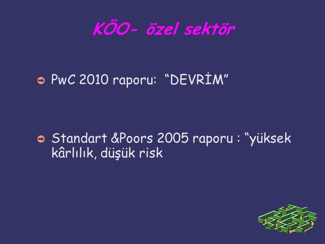 """KÖO- özel sektör ➲ PwC 2010 raporu: """"DEVRİM"""" ➲ Standart &Poors 2005 raporu : """"yüksek kârlılık, düşük risk"""