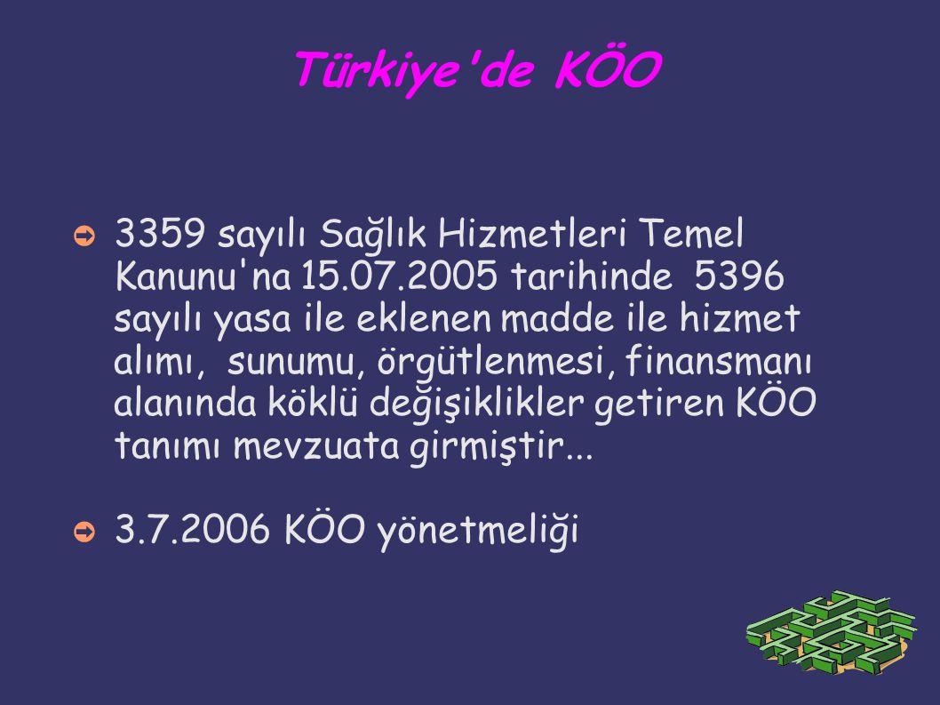 Türkiye'de KÖO ➲ 3359 sayılı Sağlık Hizmetleri Temel Kanunu'na 15.07.2005 tarihinde 5396 sayılı yasa ile eklenen madde ile hizmet alımı, sunumu, örgüt