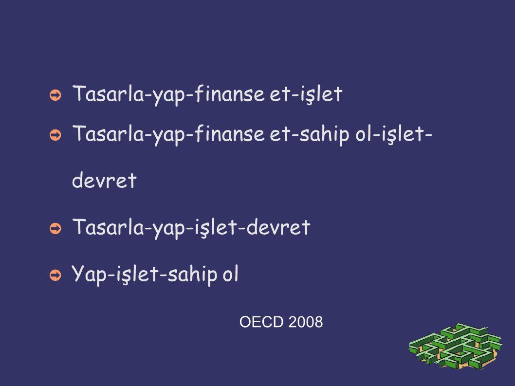 ➲ Tasarla-yap-finanse et-işlet ➲ Tasarla-yap-finanse et-sahip ol-işlet- devret ➲ Tasarla-yap-işlet-devret ➲ Yap-işlet-sahip ol OECD 2008