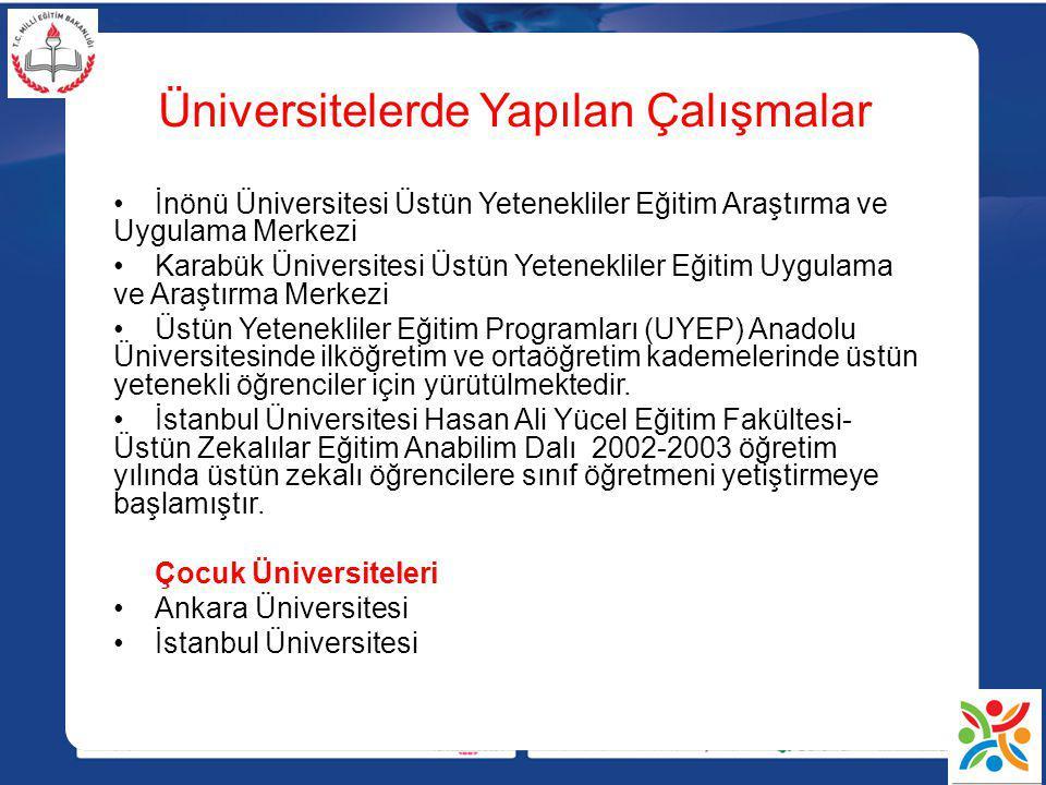 Üniversitelerde Yapılan Çalışmalar İnönü Üniversitesi Üstün Yetenekliler Eğitim Araştırma ve Uygulama Merkezi Karabük Üniversitesi Üstün Yetenekliler