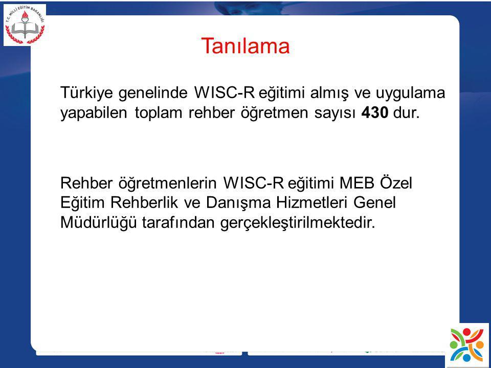 Tanılama Türkiye genelinde WISC-R eğitimi almış ve uygulama yapabilen toplam rehber öğretmen sayısı 430 dur. Rehber öğretmenlerin WISC-R eğitimi MEB Ö