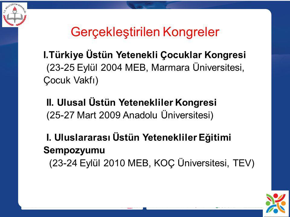 Gerçekleştirilen Kongreler I.Türkiye Üstün Yetenekli Çocuklar Kongresi (23-25 Eylül 2004 MEB, Marmara Üniversitesi, Çocuk Vakfı) II. Ulusal Üstün Yete