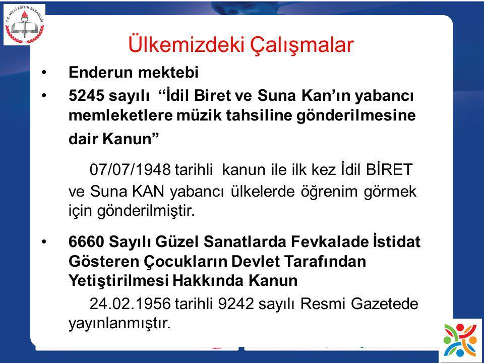 """Ülkemizdeki Çalışmalar Enderun mektebi 5245 sayılı """"İdil Biret ve Suna Kan'ın yabancı memleketlere müzik tahsiline gönderilmesine dair Kanun"""" 07/07/19"""