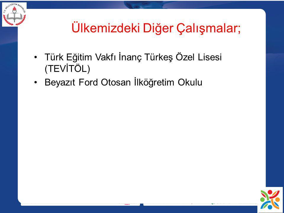 Ülkemizdeki Diğer Çalışmalar; Türk Eğitim Vakfı İnanç Türkeş Özel Lisesi (TEVİTÖL) Beyazıt Ford Otosan İlköğretim Okulu
