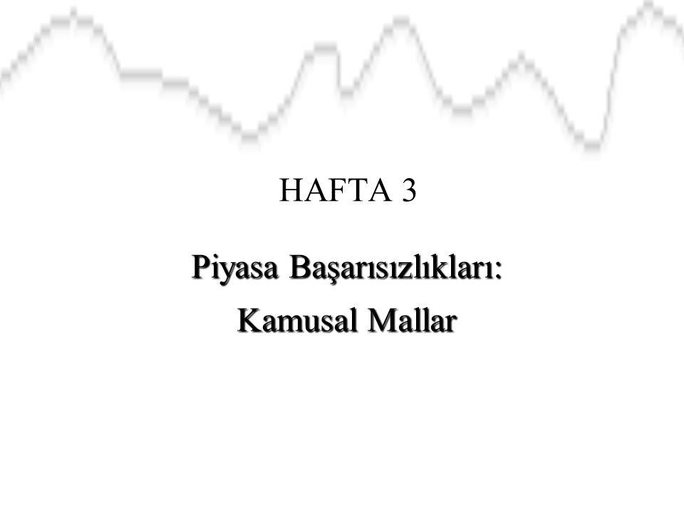 HAFTA 3 Piyasa Başarısızlıkları: Kamusal Mallar