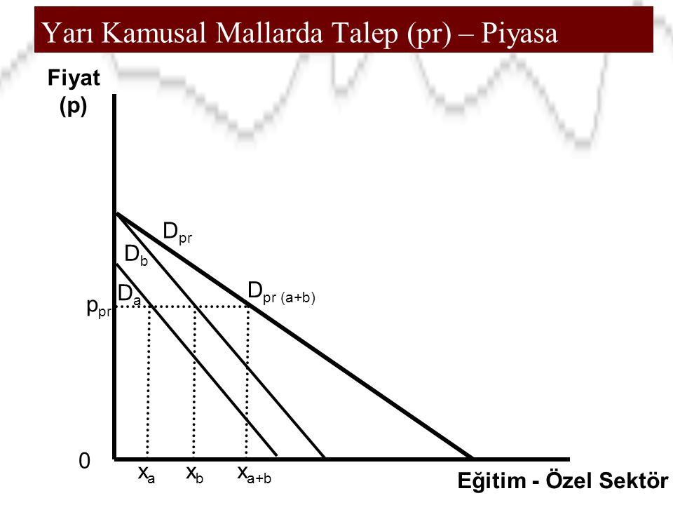 Yarı Kamusal Mallarda Talep (pr) – Piyasa 0 Fiyat (p) Eğitim - Özel Sektör xbxb D pr (a+b) p pr xaxa x a+b DbDb DaDa D pr