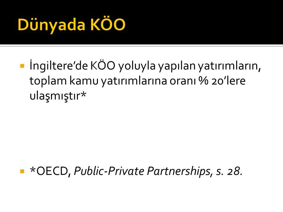  İngiltere'de KÖO yoluyla yapılan yatırımların, toplam kamu yatırımlarına oranı % 20'lere ulaşmıştır*  *OECD, Public-Private Partnerships, s.