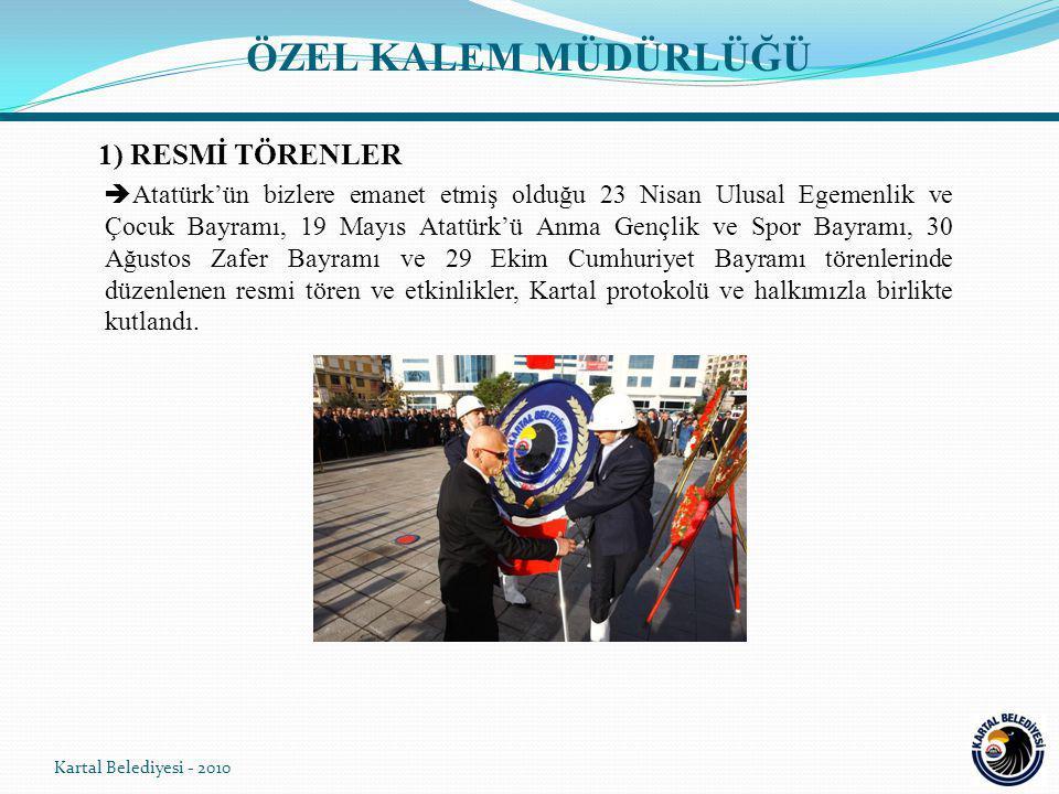 ÖZEL KALEM MÜDÜRLÜĞÜ  Atatürk'ün bizlere emanet etmiş olduğu 23 Nisan Ulusal Egemenlik ve Çocuk Bayramı, 19 Mayıs Atatürk'ü Anma Gençlik ve Spor Bayramı, 30 Ağustos Zafer Bayramı ve 29 Ekim Cumhuriyet Bayramı törenlerinde düzenlenen resmi tören ve etkinlikler, Kartal protokolü ve halkımızla birlikte kutlandı.