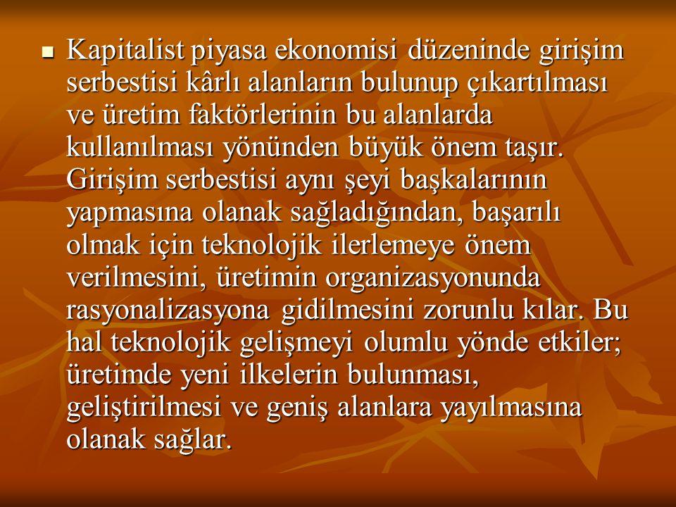 Kapitalist piyasa ekonomisi düzeninde girişim serbestisi kârlı alanların bulunup çıkartılması ve üretim faktörlerinin bu alanlarda kullanılması yönünd