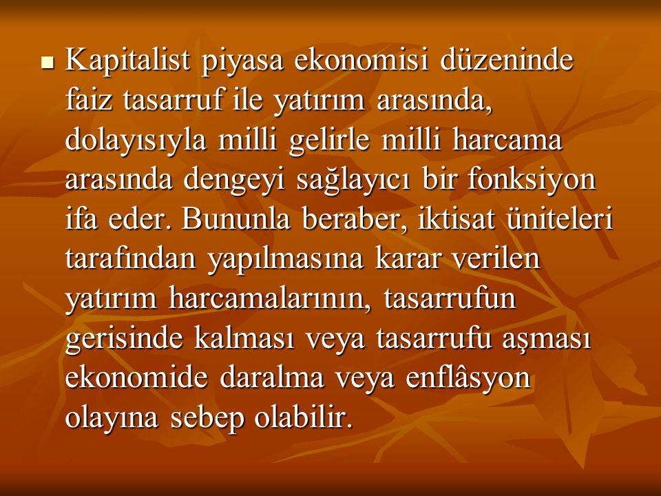 Kapitalist piyasa ekonomisi düzeninde faiz tasarruf ile yatırım arasında, dolayısıyla milli gelirle milli harcama arasında dengeyi sağlayıcı bir fonks