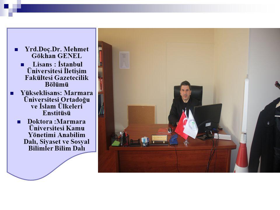 Yrd.Doç.Dr. Mehmet Gökhan GENEL Lisans : İstanbul Üniversitesi İletişim Fakültesi Gazetecilik Bölümü Yükseklisans: Marmara Üniversitesi Ortadoğu ve İs