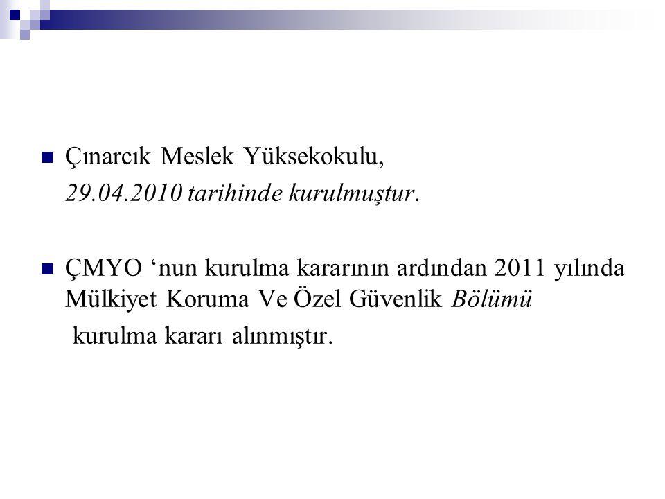 Çınarcık Meslek Yüksekokulu, 29.04.2010 tarihinde kurulmuştur.