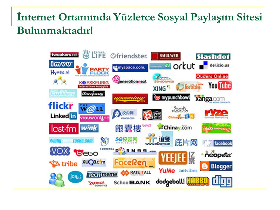 İnternet Ortamında Yüzlerce Sosyal Paylaşım Sitesi Bulunmaktadır!