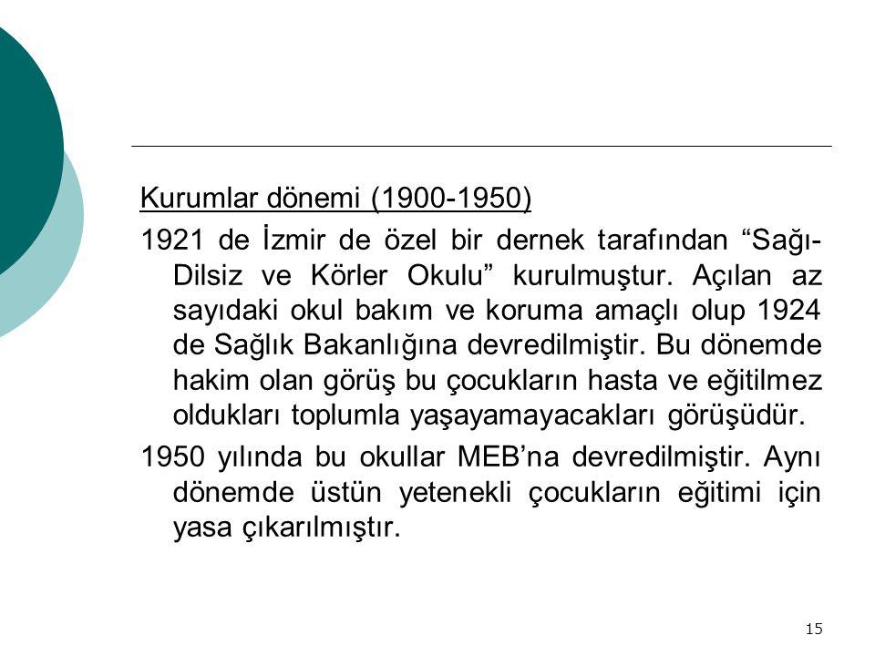 """15 Kurumlar dönemi (1900-1950) 1921 de İzmir de özel bir dernek tarafından """"Sağı- Dilsiz ve Körler Okulu"""" kurulmuştur. Açılan az sayıdaki okul bakım v"""