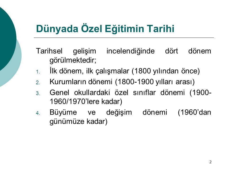 13 Ülkemizde Özel Eğitimin Gelişimi İlk dönem çalışmaları (1700-1800) Osmanlı döneminde özel gereksinimli bireylerin yaşlılar evinde korumaya alındıkları ya da bazılarının yetenekleri ölçüsünde çalıştırıldıkları görülmektedir.