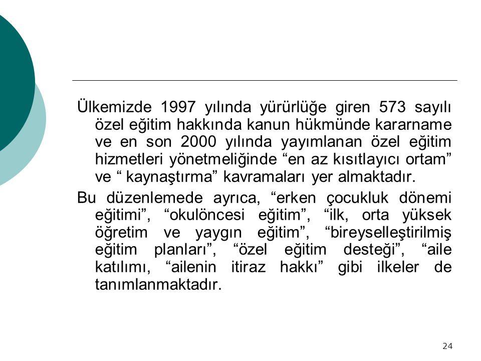 24 Ülkemizde 1997 yılında yürürlüğe giren 573 sayılı özel eğitim hakkında kanun hükmünde kararname ve en son 2000 yılında yayımlanan özel eğitim hizme