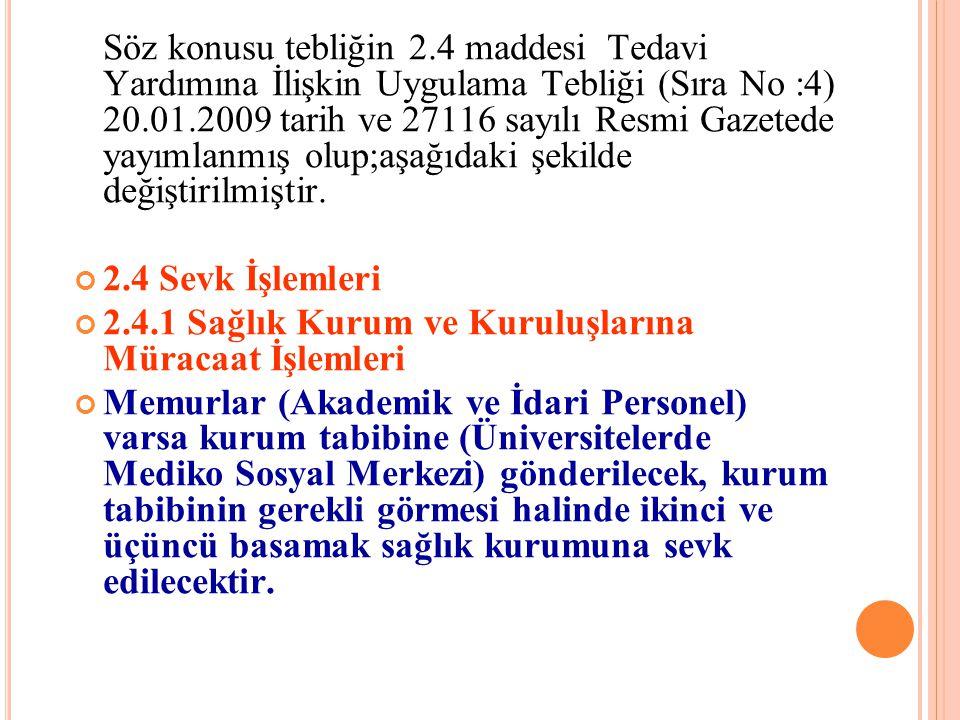 Söz konusu tebliğin 2.4 maddesi Tedavi Yardımına İlişkin Uygulama Tebliği (Sıra No :4) 20.01.2009 tarih ve 27116 sayılı Resmi Gazetede yayımlanmış olup;aşağıdaki şekilde değiştirilmiştir.
