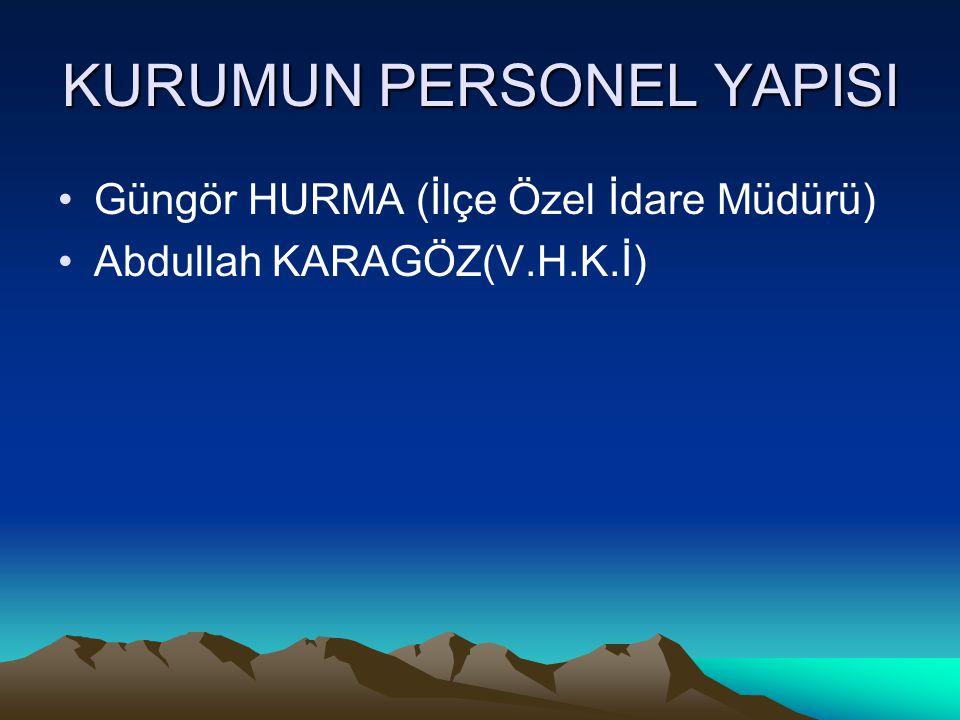 KURUMUN PERSONEL YAPISI Güngör HURMA (İlçe Özel İdare Müdürü) Abdullah KARAGÖZ(V.H.K.İ)