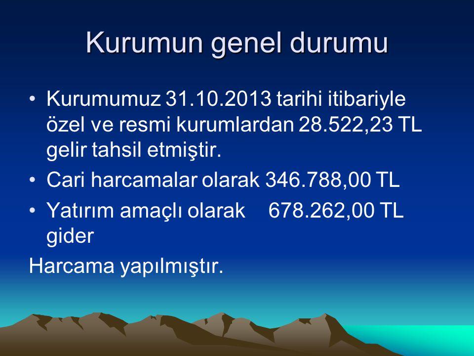 Kurumun genel durumu Kurumumuz 31.10.2013 tarihi itibariyle özel ve resmi kurumlardan 28.522,23 TL gelir tahsil etmiştir. Cari harcamalar olarak 346.7