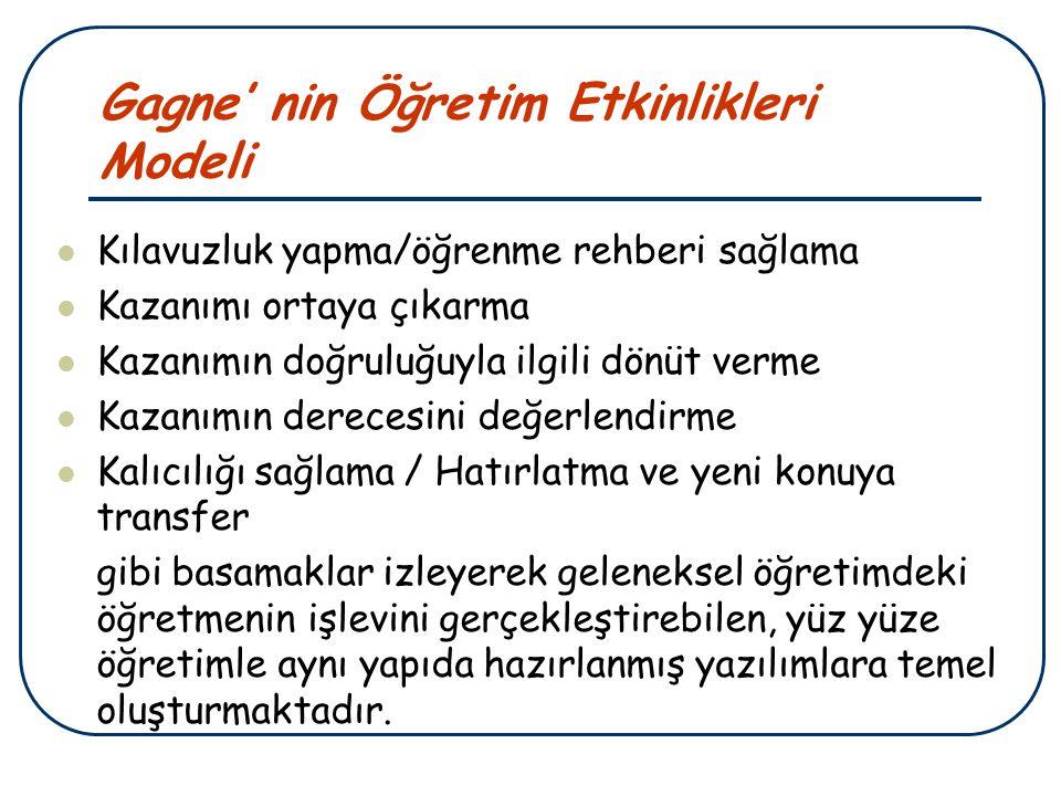 Gagne' nin Öğretim Etkinlikleri Modeli Kılavuzluk yapma/öğrenme rehberi sağlama Kazanımı ortaya çıkarma Kazanımın doğruluğuyla ilgili dönüt verme Kaza