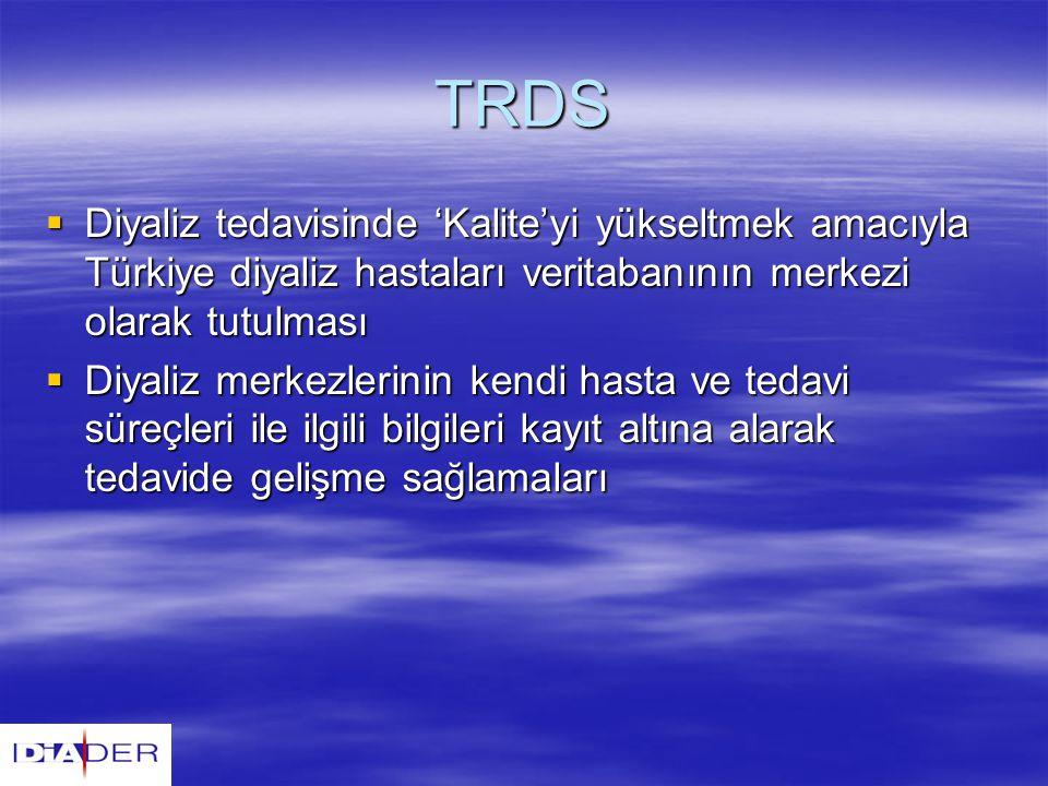 TRDS  Diyaliz tedavisinde 'Kalite'yi yükseltmek amacıyla Türkiye diyaliz hastaları veritabanının merkezi olarak tutulması  Diyaliz merkezlerinin ken
