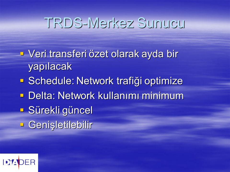 TRDS-Merkez Sunucu  Veri transferi özet olarak ayda bir yapılacak  Schedule: Network trafiği optimize  Delta: Network kullanımı minimum  Sürekli g
