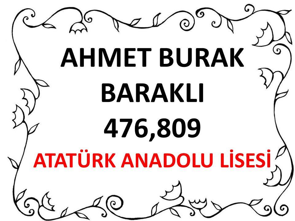 AHMET BURAK BARAKLI 476,809 ATATÜRK ANADOLU LİSESİ