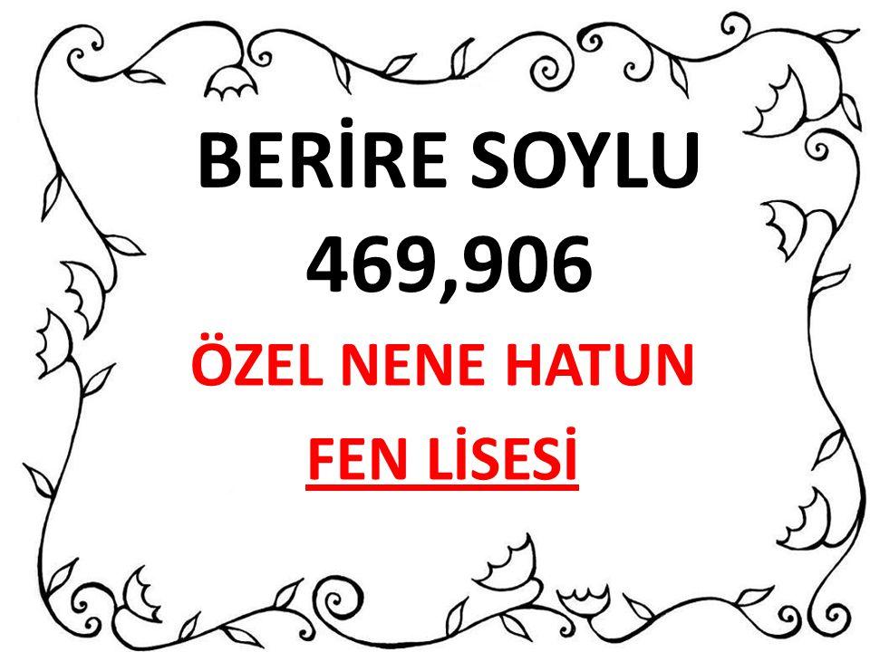BERİRE SOYLU 469,906 ÖZEL NENE HATUN FEN LİSESİ