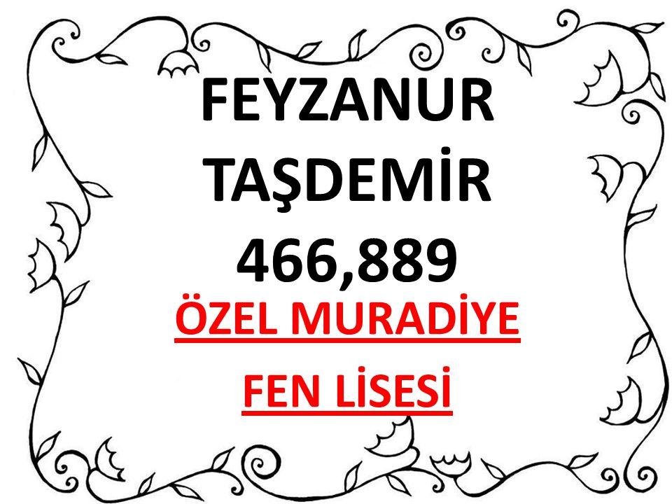 FEYZANUR TAŞDEMİR 466,889 ÖZEL MURADİYE FEN LİSESİ