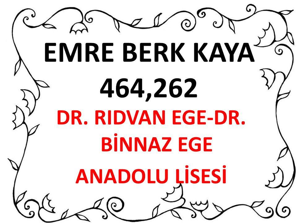 EMRE BERK KAYA 464,262 DR. RIDVAN EGE-DR. BİNNAZ EGE ANADOLU LİSESİ