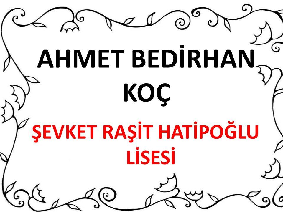 AHMET BEDİRHAN KOÇ ŞEVKET RAŞİT HATİPOĞLU LİSESİ