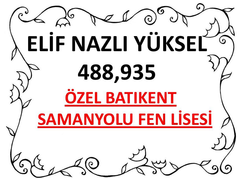 ELİF NAZLI YÜKSEL 488,935 ÖZEL BATIKENT SAMANYOLU FEN LİSESİ