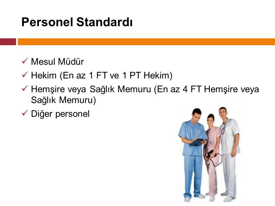 Personel Standardı Mesul Müdür Hekim (En az 1 FT ve 1 PT Hekim) Hemşire veya Sağlık Memuru (En az 4 FT Hemşire veya Sağlık Memuru) Diğer personel
