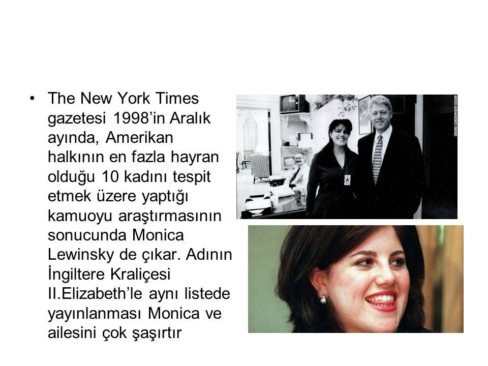 The New York Times gazetesi 1998'in Aralık ayında, Amerikan halkının en fazla hayran olduğu 10 kadını tespit etmek üzere yaptığı kamuoyu araştırmasını