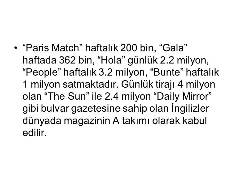 """""""Paris Match"""" haftalık 200 bin, """"Gala"""" haftada 362 bin, """"Hola"""" günlük 2.2 milyon, """"People"""" haftalık 3.2 milyon, """"Bunte"""" haftalık 1 milyon satmaktadır."""