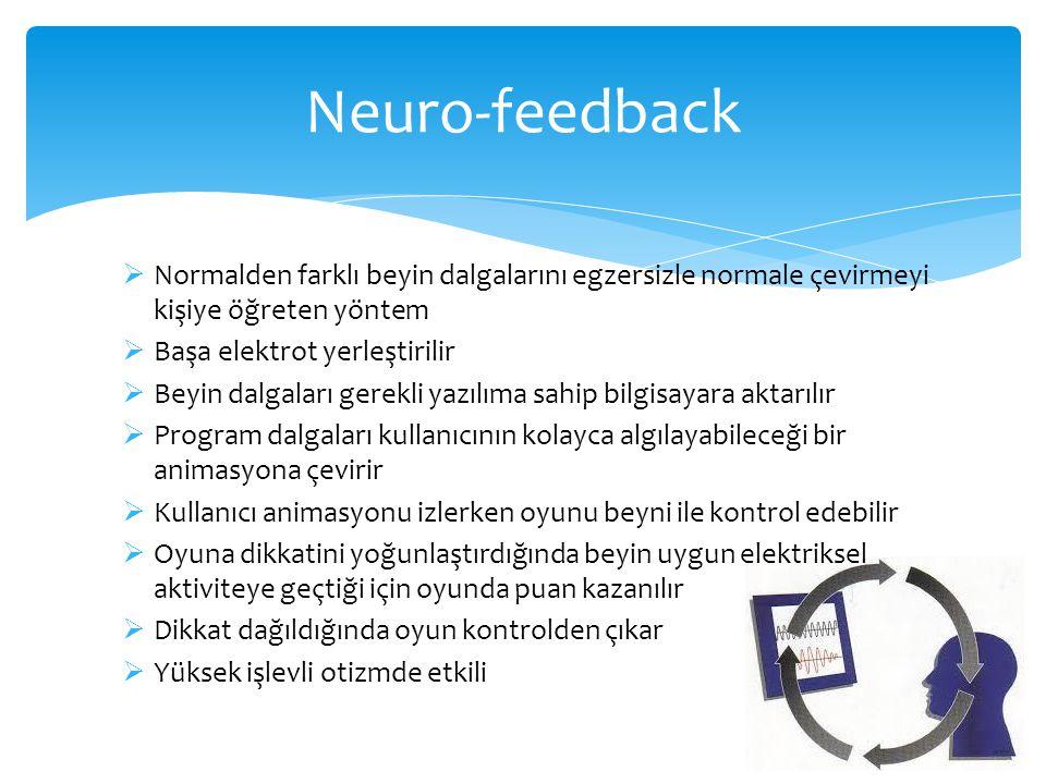 Neuro-feedback  Normalden farklı beyin dalgalarını egzersizle normale çevirmeyi kişiye öğreten yöntem  Başa elektrot yerleştirilir  Beyin dalgaları
