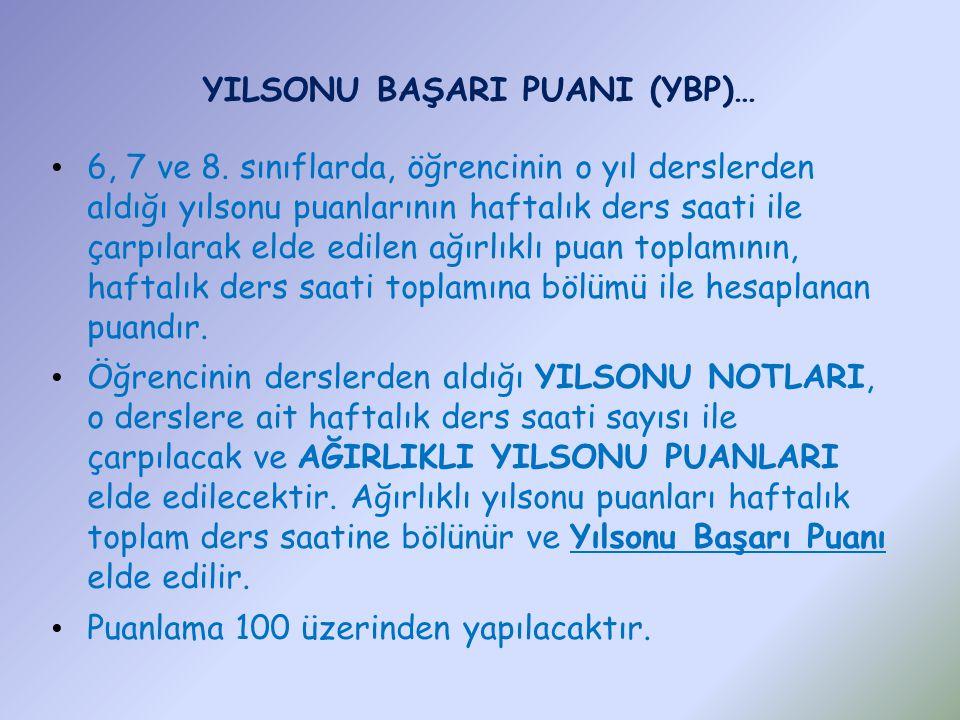 YILSONU BAŞARI PUANI (YBP)… 6, 7 ve 8.