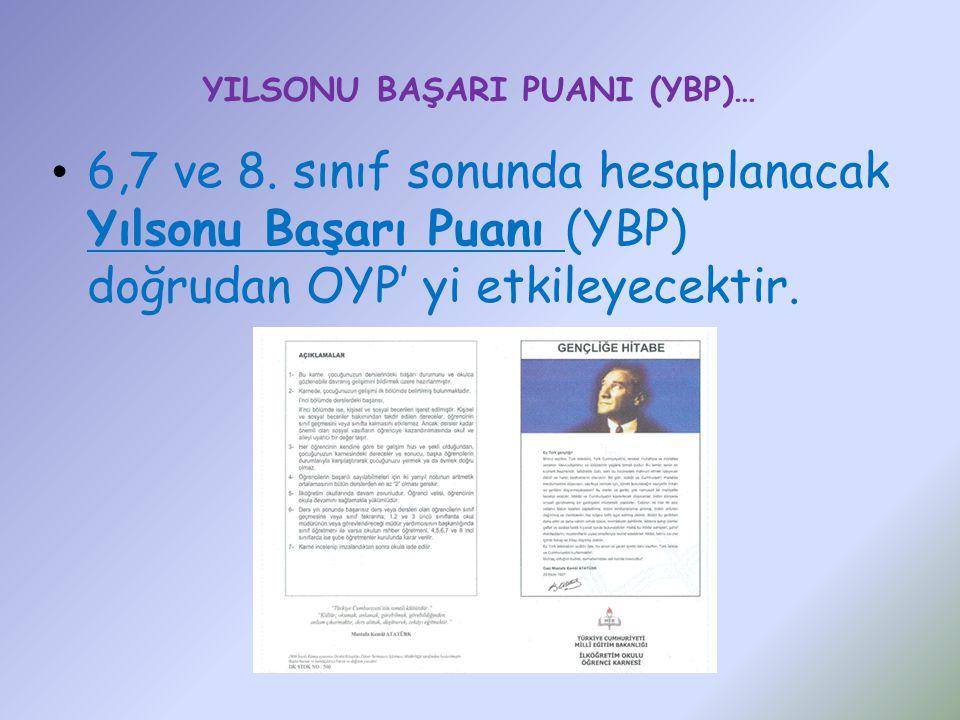 YILSONU BAŞARI PUANI (YBP)… 6,7 ve 8.