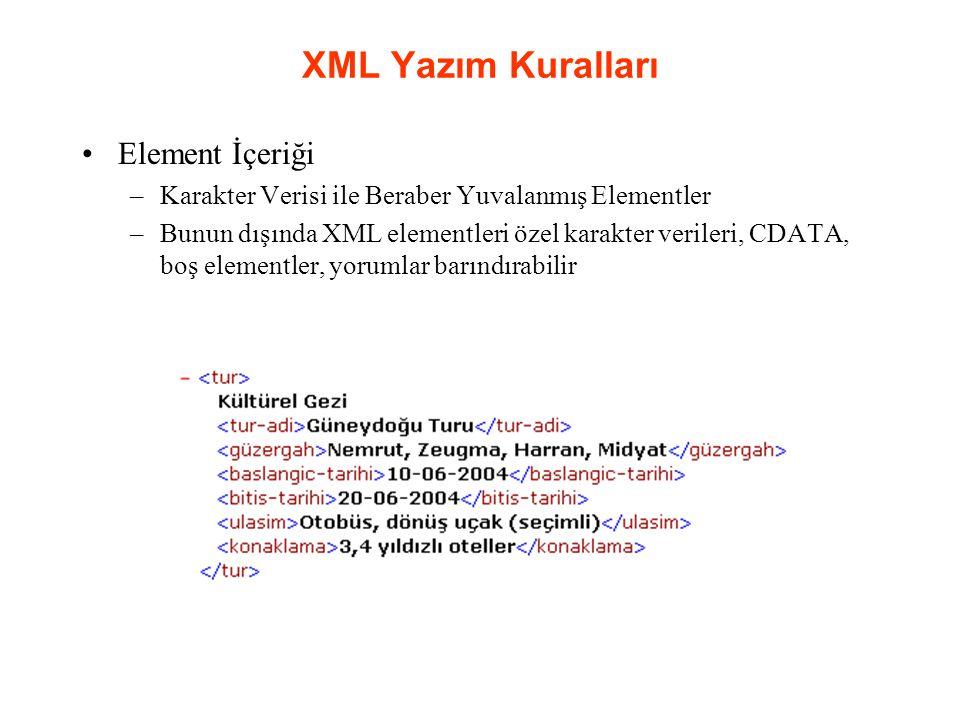 XML Yazım Kuralları Element İçeriği –Karakter Verisi ile Beraber Yuvalanmış Elementler –Bunun dışında XML elementleri özel karakter verileri, CDATA, boş elementler, yorumlar barındırabilir