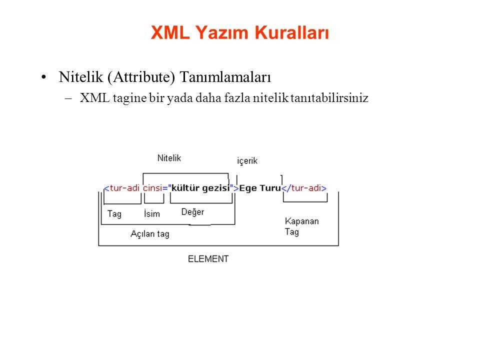 XML Yazım Kuralları Nitelik (Attribute) Tanımlamaları –XML tagine bir yada daha fazla nitelik tanıtabilirsiniz