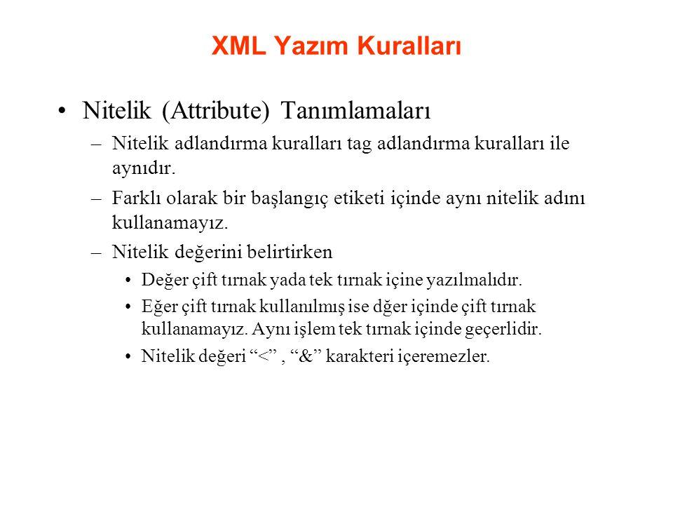 XML Yazım Kuralları Nitelik (Attribute) Tanımlamaları –Nitelik adlandırma kuralları tag adlandırma kuralları ile aynıdır.