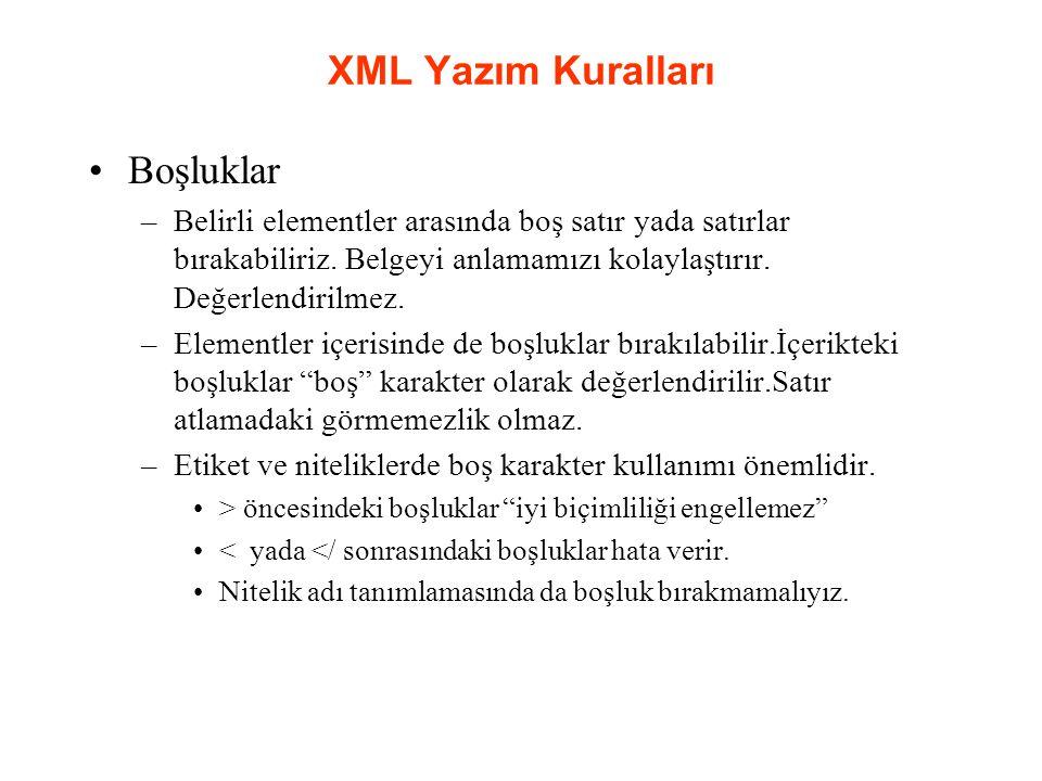 XML Yazım Kuralları Boşluklar –Belirli elementler arasında boş satır yada satırlar bırakabiliriz.