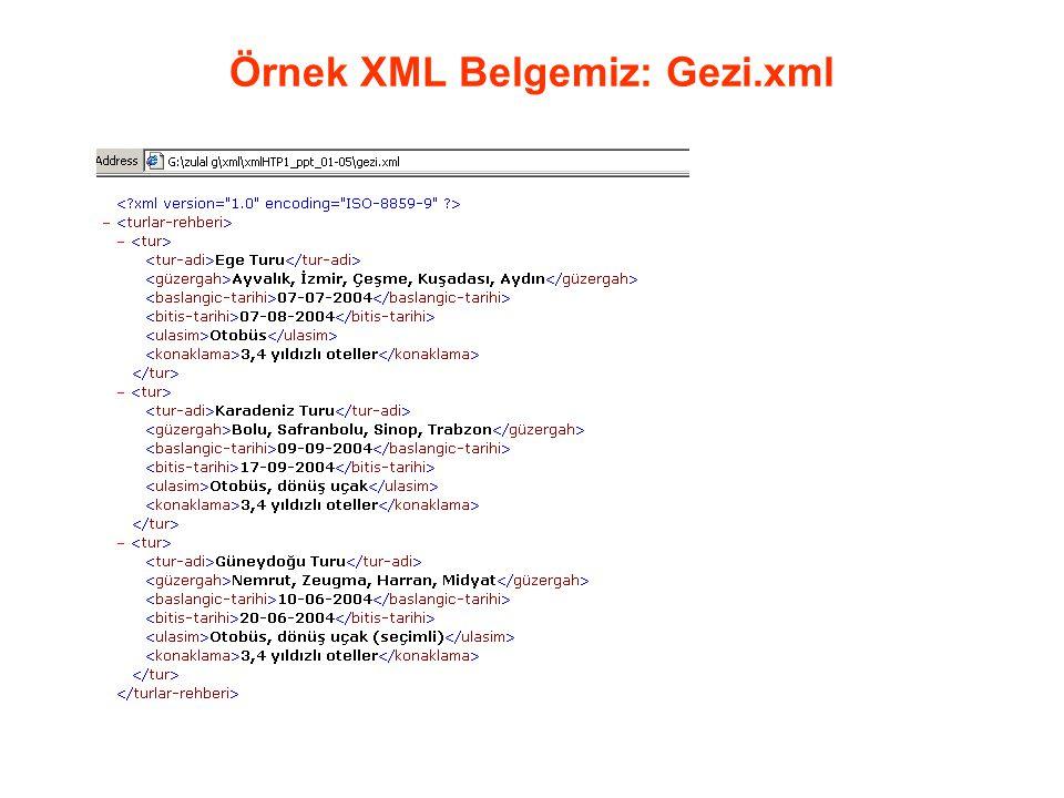Örnek XML Belgemiz: Gezi.xml